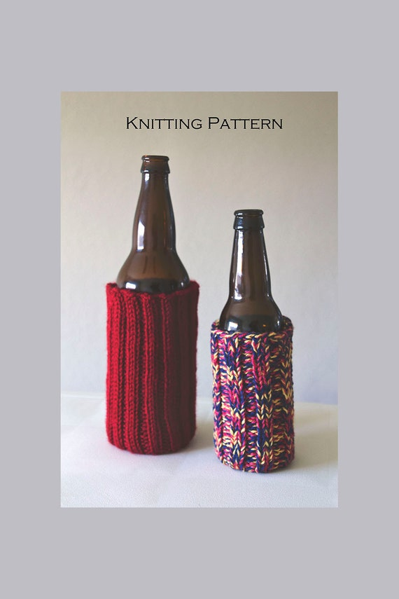 Knit Koozie Pattern : Beer bottle cozy / Craft Beer Gifts / Knitting Patterns for by KnitsbyVeronic...