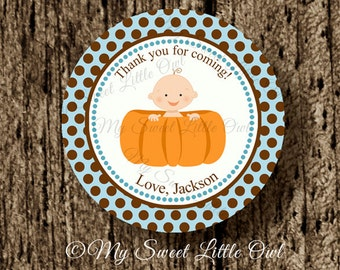 Pumpkin Cupcake Topper - pumpkin Baby Shower - pumpkin boy sticker - twins pumpkin label - pumpkin tag -pumpkin birthday - pumpkin printable