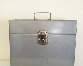 Vintage Industrial Silver Excelsior Storage, File Bin/Box with Handle