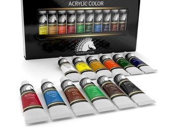 12x12ml Acrylic Paint Set- Artist Quality Paints for Painting on Canvas- Professional Art Supplies by MyArtscape