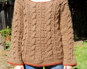 Handmade Crocheted Cable Sweater comfy cozy winter cable-knit casual