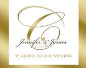 20 Wedding Welcome Bag labels. Gold Frame with monogram for goody bags, hotel hospitality bags, out of town guests welcome bags, favors