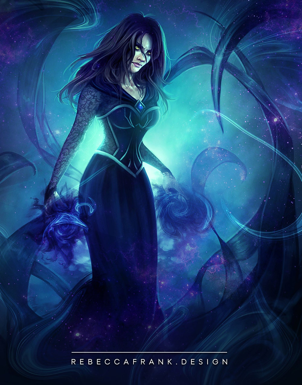 Evil Witch Enchantress with Dark Magic Fantasy Artwork