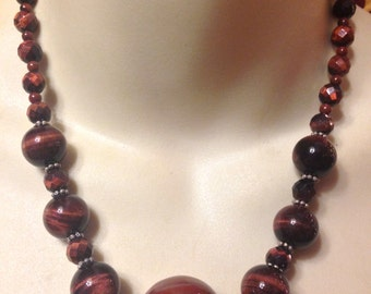 SALE- Vintage Genuine Luxe Tiger's Eye Faceted and Smooth Bead Graduated Necklace