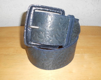 Vintage 80s Carlos Falchi Wide Leather Embossed Belt