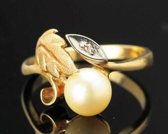 14k Art Nouveau Pearl & Diamond Ring Vintage Size 6.25