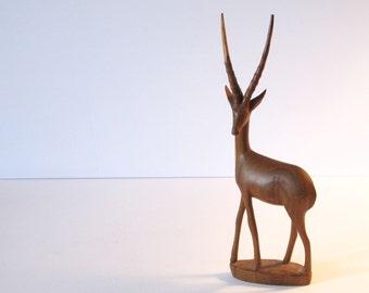 Mid Century Wood Antelope Statue Teak Figurine African Art Wooden Carved Antelope Carving Sculpture Danish Teak Decorative Sculpture