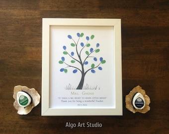 Teacher Gift, Fingerprint Tree, Classroom Gift, Graduation Gift, End of Year Gift, Teacher Appreciation, Thank You Card, Teacher Retirement
