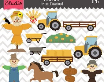 Farm Clipart // Hay Season Clipart // Tractor Clipart // Fall Clipart - Fall120