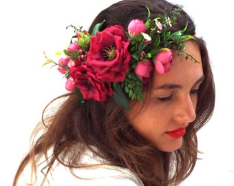 Pink flower crown, Wedding hair wreath, Custom headpiece, Bohemian Bridal, Rose red headband,Valentine day