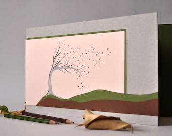 "Photo album ""autumn breeze"" geometric eco back-to-school gift for her, wedding wish book, papercut tree &leaves, khaki+grey+ivory cardboards"