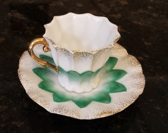 German Green and Gold Demitasse teacup and saucer