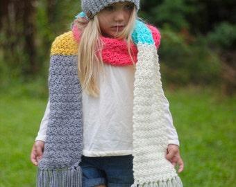 Kid's Slouchy Hat / Heart Hat / Fringe Scarf / Kids Scarf / Children's Winter Hat / Pink Hat / Grey Hat
