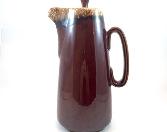 Vintage Hull Pottery Brown Drip Tall Coffee Pot with Lid- mirror brown Crestone