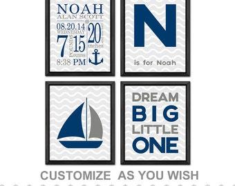 personalized nautical baby nursery decor with birth stats, nautical baby boy wall art, nautical Birth Announcement, baby decor nautical
