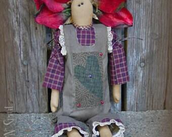 """Pattern: Posie - 18"""" Flower Prim Rag Doll"""