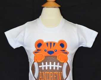 Personalized Football Tiger Face Applique Shirt or Onesie
