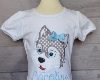 Personalized Siberian Husky Puppy Applique Shirt or Onesie Girl or Boy