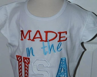 Personalized 4th of July Patriotic Made in the USA Applique Shirt or Onesie Girl or Boy