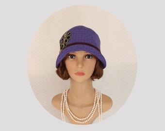 A pretty Great Gatsby hat in purple and black, 1920s hat, purple cloche hat, Downton Abbey hat, Gatsby party hat, Roaring Twenties hat