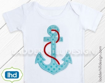 Anchor Applique with Rope Machine Embroidery Design WA010E