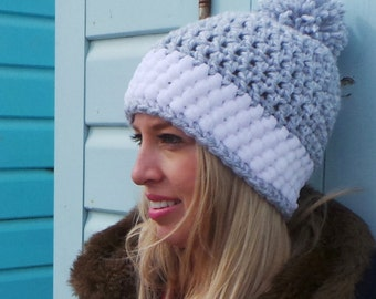 WOMENS CROCHET Hat PATTERN, crochet hat pattern, Winter hat pattern, bobble hat pattern, chunky hat pattern, pom pom hat, Instant download