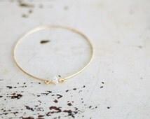 Dainty Herkimer Diamond Bracelet, Diamond Mineral Bangle, Thin Gold Bangle, Bridesmaid Bracelet, Minimalist