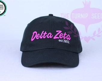 Delta Zeta Baseball Cap - Team Script - Custom Color Hat and Embroidery.