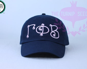 Gamma Phi Beta Baseball Cap - Marbles - Custom Color Hat and Embroidery.