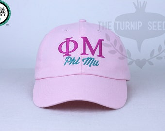 Phi Mu Sorority Baseball Cap - Custom Color Hat and Embroidery.