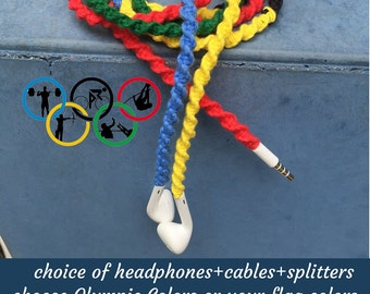 Olympic or ur Country Flag Colors Headphones Ear Buds for iPhone iPad iPod Android Smartphone ~ Choice of Colors ~ Rio Summer Olympics 2016