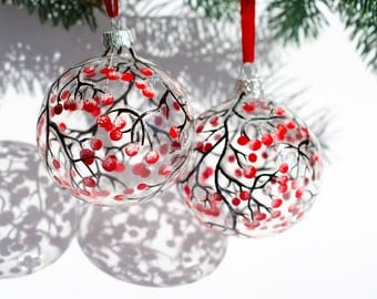 Glass Ornaments, 2 Christmas Ornaments, Hand Painted Red Berries Ornaments, Christmas Decor