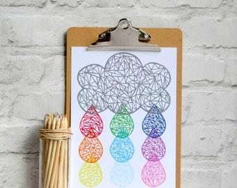 Rainbow print , nursery print , raincloud print , rainbow coloured print , raindrops and raincloud print , nursery gift , nursery decor