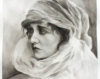 Antique Woman India Ink Painting