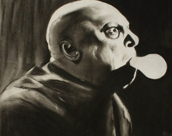 Uncle Fester The Addams Family Charcoal Drawing