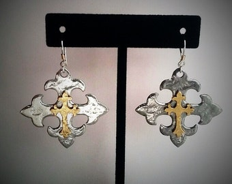 Celtic Cross With Fleur-De-Lis Earrings