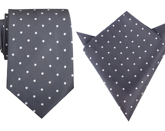 Matching Necktie + Pocket Square Charcoal Grey with White Polka Dots (M121-T8+P) Men's Handkerchief Neck Tie Combo Ties Neckties Thick Wide