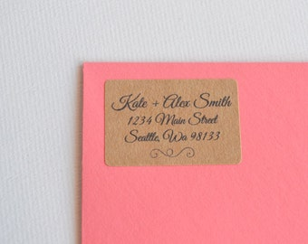 50 Address Labels Kraft Brown - 1 x 1.5 Rectangle Address Labels - Address Returns