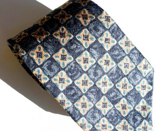 Vintage Blue Silk Tie,Made in USA,GAP Tie, Classic Tie,Blue and Tan Foulard with Medallions,Vintage Menswear