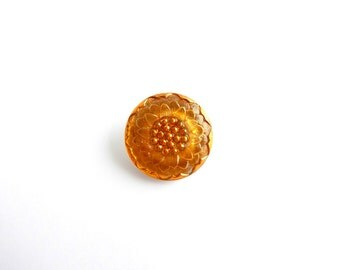 Czech Glass Button - 22mm Orange Flower Czech Glass Button, Orange Glass Button BUT0034