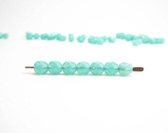 Seafoam Round Faceted Beads Czech Glass Beads, (40 pcs) 6mm Seafoam Round Beads, Green Faceted Round Beads, Seafoam Faceted Beads RND0205