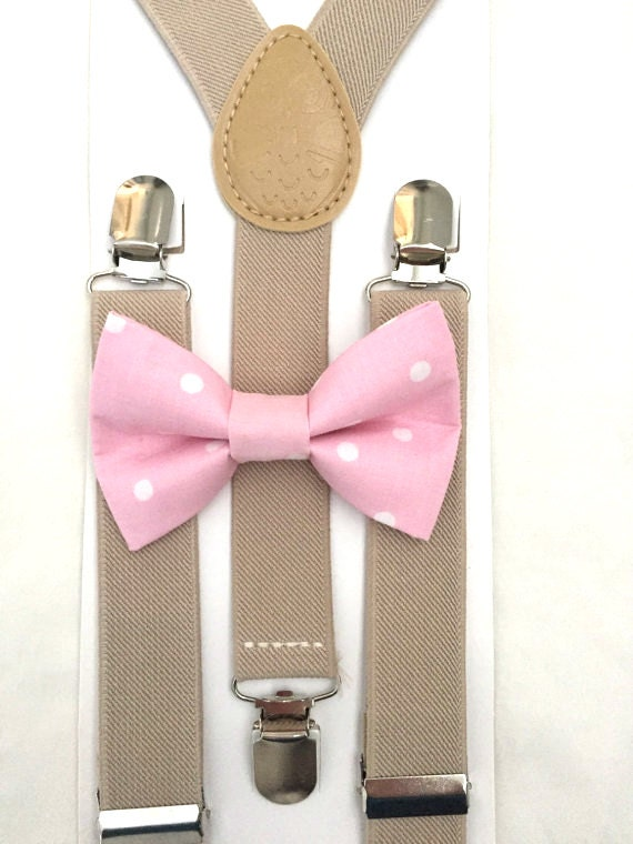 Tan Suspenders and Pink Polka Dot Bow Tie