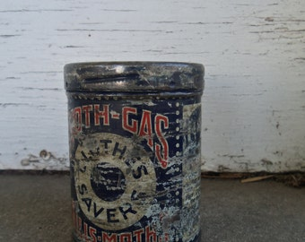 Vintage Clothes Saver Moth Gas Collectible Tin