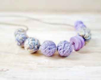 Lilac Yarn Necklace. Yarn Fiber Necklace. Handmade Beads. Lavender Fibre Necklace. Yarn and Polymer Clay Beads. Chunky Lightweight.