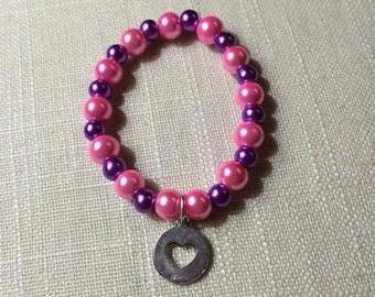 Glass Pearl Beaded Bracelet w/ Heart Charm