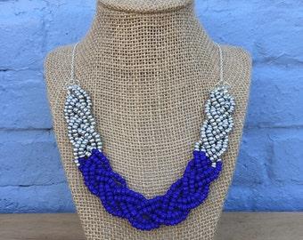 Navy Blue Statement Necklace, Dark Blue Silver Necklace, Royal Blue Statement Necklace, Blue Silver Statement Necklace, Navy Necklace