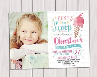 Ice Cream Birthday Photo Invitation, Ice Cream Social, Party Invitation, Summer Party, Summer Birthday Printable