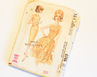 SIZE 15 6766 WOMEN'S McCALL's Sewing Pattern Vintage Bust 35 1960s Sleeveless Dress Straight Full Skirt Womens Mad Men Sixties Fifties 1950s