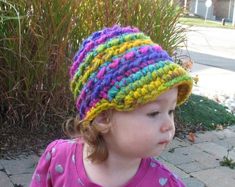 Toddler Girl Hat, Newborn Girl Hat, Baby Girl Hat, Crochet Newsboy Hat, Girls Newsboy, Girls Brim Hat, Baby Shower Gift, Photo Prop, Chunky