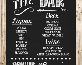 Wedding Drink Sign, Bar Sign, Signature Drink, Chalkboard Style, Alcoholic Sign, Party Sign, Poster, Rustic